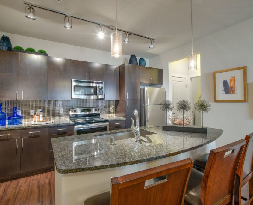 Kathy Andrews Interiors Multifamily Bell Ken-Caryl Model Kitchen
