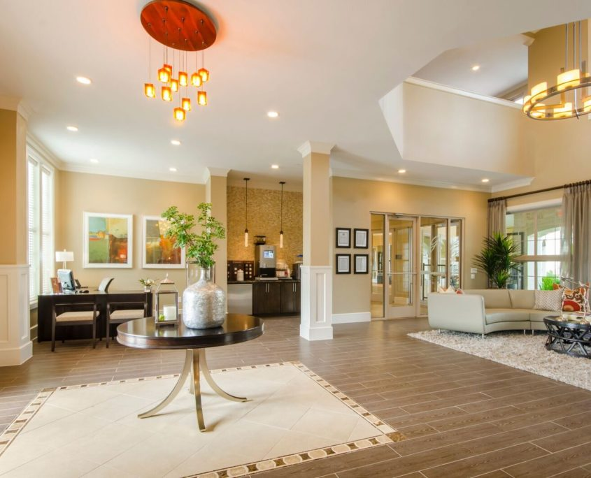 Kathy Andrews Interiors Grand at the Dominion Multifamily Leasing and Amenity Center Lobby