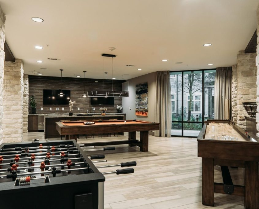 Kathy Andrews Interiors Multifamily Leasing and Amenity Center Ridgeline at Rogers Ranch Gameroom