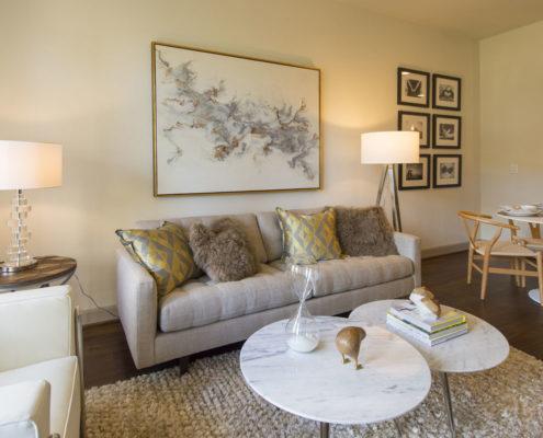 Kathy Andrews Interiors Alexan 5151 Multifamily Model Living Area 2