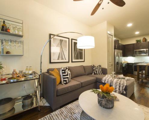 Kathy Andrews Interiors Alexan 5151 Multifamily Model Living Area