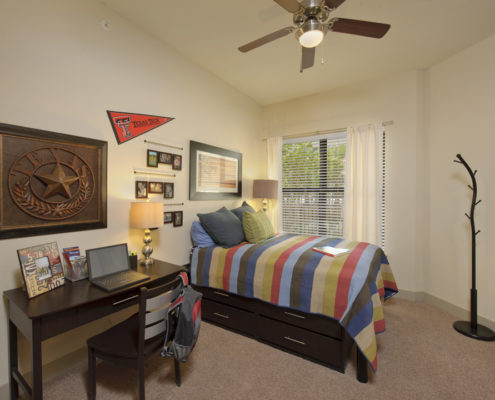 Kathy Andrews Interiors Asset Plus Student Housing Model 25Twenty Lubbock TX 2B Bedroom 1