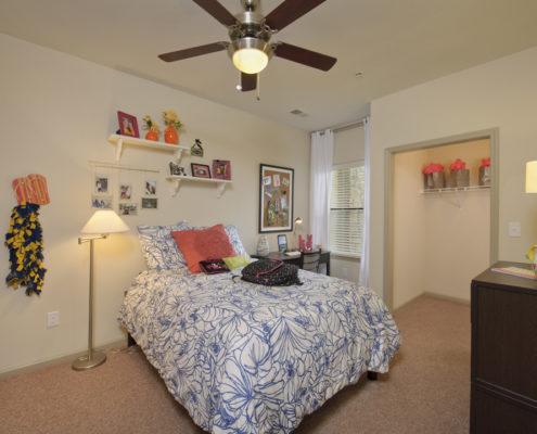 Kathy Andrews Interiors Asset Plus Student Housing Model WVU Morgantown West Virginia Bedroom