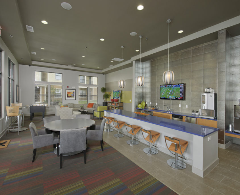 Kathy Andrews Interiors Asset Plus Student Housing Leasing And Amenity  Center WVU Morgantown West Virginia Clubroom