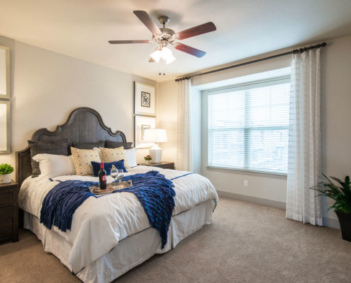 Kathy Andrews Interiors Asset Plus Companies The Arrabella Houston TX Multifamily Model Bedroom 1