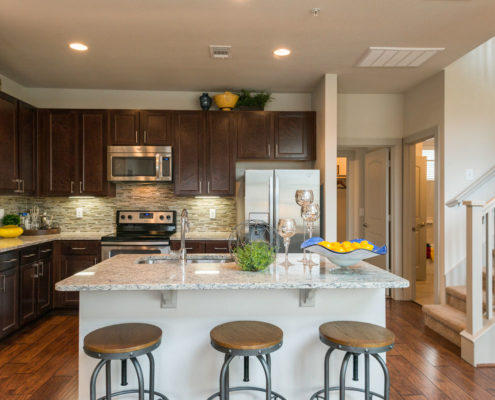 Kathy Andrews Interiors Asset Plus Companies The Arrabella Houston TX Multifamily Model Kitchen 2