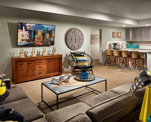 Kathy Andrews Interiors David Weekley Homes Deer Run Pennfield Model 6435 Draper UT Family Room