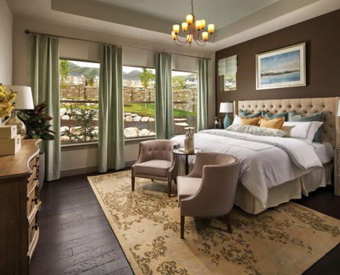 Kathy Andrews Interiors David Weekley Homes Deer Run Pennfield Model 6435 Draper UT - Bedroom
