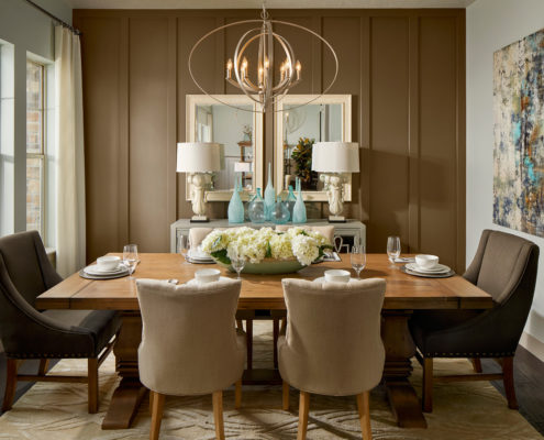 Kathy Andrews Interiors David Weekley Homes Deer Run Pennfield Model 6435 Draper UT - Dining