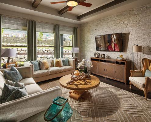 Kathy Andrews Interiors David Weekley Homes Deer Run Pennfield Model 6435 Draper UT - Family Room