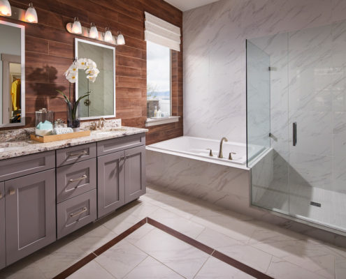 Kathy Andrews Interiors David Weekley Homes Deer Run Pennfield Model 6435 Draper UT - Master Bath