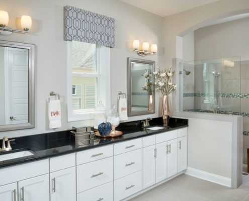 Kathy Andrews Interiors David Weekley Homes Active Adult Living Encore at Briar Chapel Wakeford Master Bath
