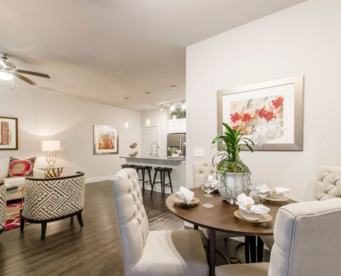Kathy Andrews Interiors Grand at the Dominion Multifamily Model Dining