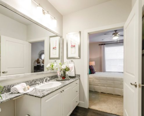 Kathy Andrews Interiors Grand at the Dominion Multifamily Model Bath