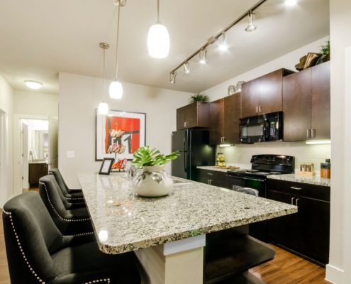 Kathy Andrews Interiors Grand at the Dominion Multifamily Model Kitchen 6