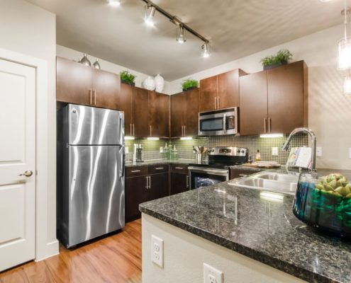 Kathy Andrews Interiors Grand at the Dominion Multifamily Model Kitchen 5