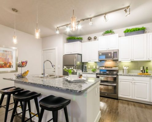 Kathy Andrews Interiors Grand at the Dominion Multifamily Model Kitchen 4