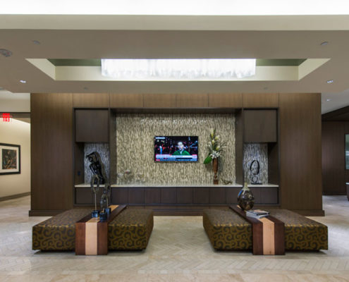 Multifamily Interior Design Kathy Andrews Interiors Hanover Post Oak Multifamily Leasing and Amenity Center lobby