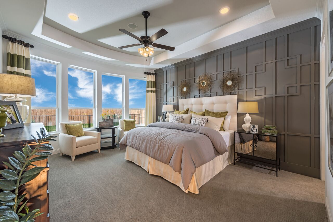 Kathy Andrews Interiors Landon Homes Lexington Country Heritage Series 432  Frisco Texas Master Bed