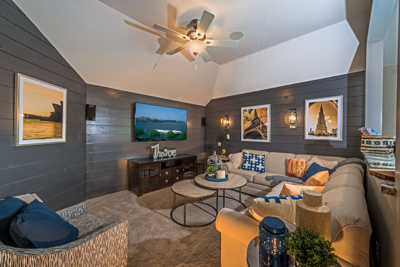 Kathy Andrews Interiors Landon Homes Lexington Country Impression Series 4655 Frisco Texas Theater Room