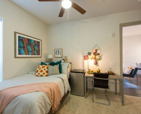 Student Housing Interior Design Kathy Andrews Interiors Student Housing Dinerstein Companies Sterling Northgate College Station TX Model Bedroom