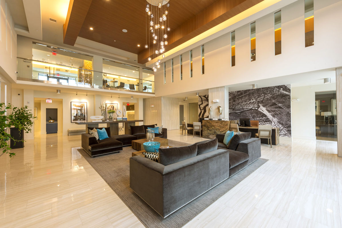 Kathy Andrew Interiors Multifamily Interior Design Leasing and Amenity Center Alexan CityCentre Lobby