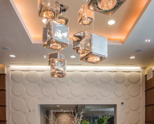 Kathy Andrew Interiors Multifamily Interior Design Leasing and Amenity Center Millennium Rainey Street Lobby Lighting Details