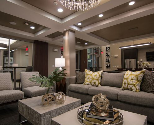 Kathy Andrew Interiors Multifamily Interior Design Leasing and Amenity Center Pearl CityCentre Clubroom