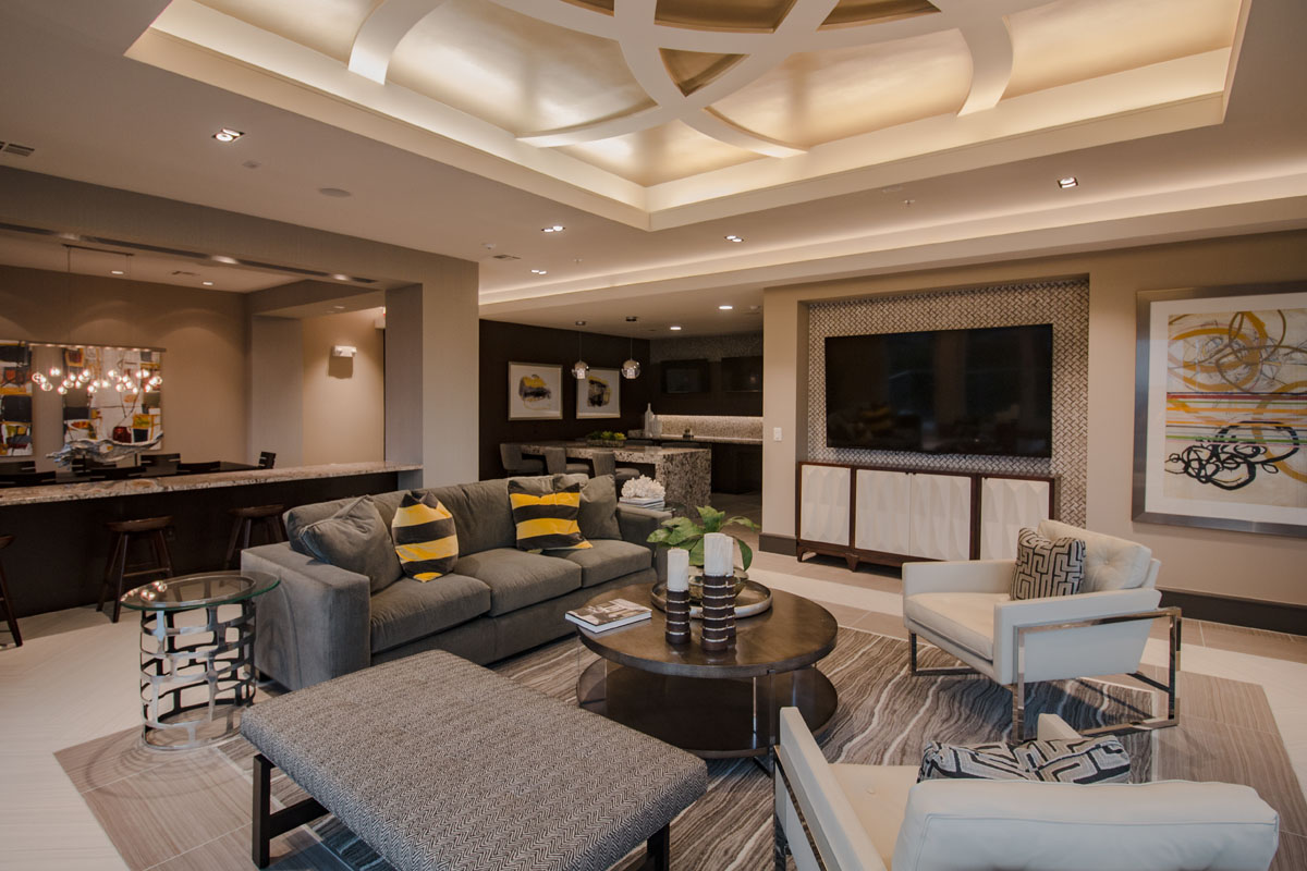 Kathy Andrew Interiors Multifamily Interior Design Leasing and Amenity Center Pearl CityCentre Resident Lounge