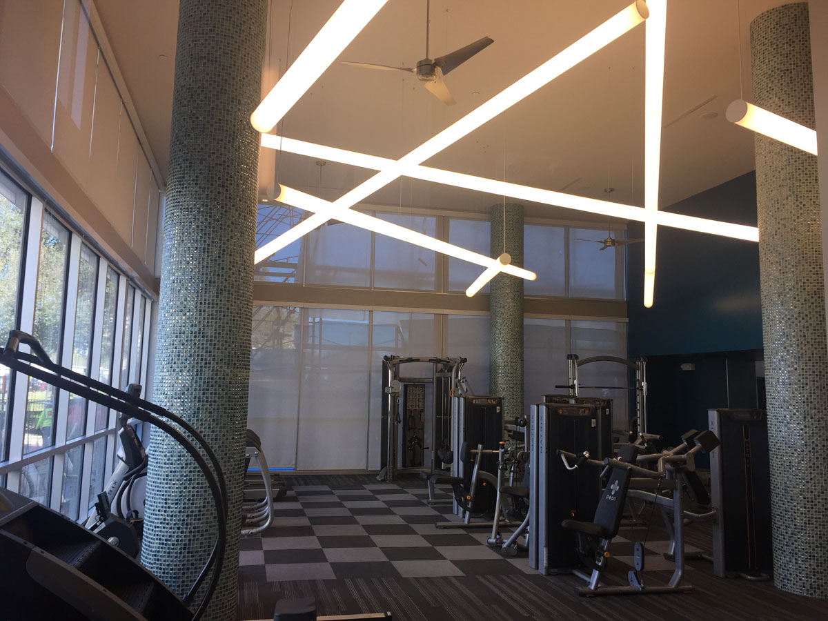Kathy Andrew Interiors Multifamily Interior Design Leasing and Amenity Center Pearl Residences at CityCentre Fitness Center