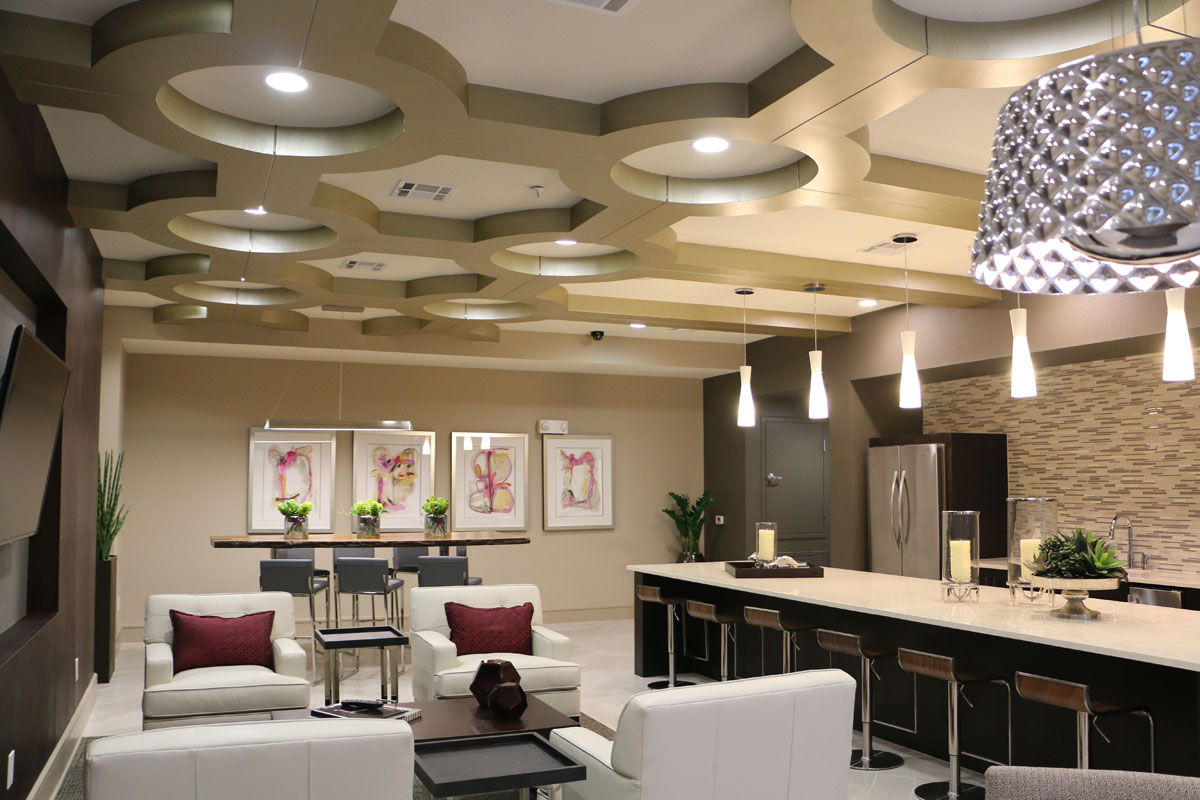 Kathy Andrew Interiors Multifamily Interior Design Leasing and Amenity Center Pearl Woodlake Lobby 3