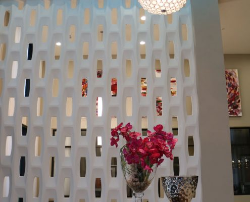 Kathy Andrew Interiors Multifamily Interior Design Leasing and Amenity Center Pearl Woodlake Wall Details