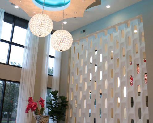 Kathy Andrew Interiors Multifamily Interior Design Leasing and Amenity Center Pearl Woodlake Wall and Lighting Details