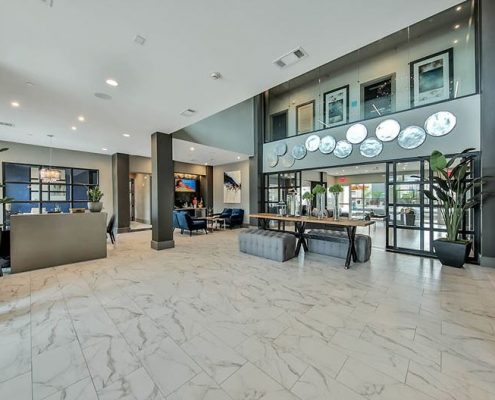 Kathy Andrews Interiors Multifamily Interior Design Streamsong Lobby Entrance