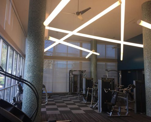 Kathy Andrew Interiors Multifamily Interior Design Leasing and Amenity Center Pearl Residences at CityCentre Fitness Center Cropped