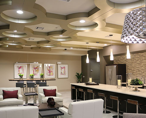 Kathy Andrew Interiors Multifamily Interior Design Leasing and Amenity Center Pearl Woodlake hero cropped