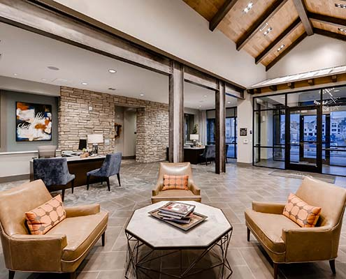 Kathy Andrews Interiors Multifamily Interior Design Leasing and Amenity Center Venue at the Promenade Leasing Office cropped