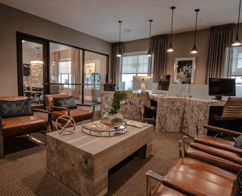 Kathy Andrews Interiors Multifamily Interior Design Domain Memorial Leasing and Amenity Centers Business Lounge