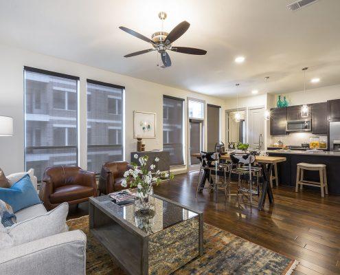 Kathy Andrews Interiors Alexan 5151 Multifamily Model Unit Living Room 2