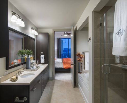Kathy Andrews Interiors Hanover Post Oak Multifamily Model Master bath