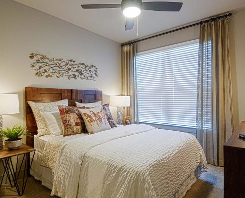 Kathy Andrews Interiors Multifamily Garden Style Interior Design SoCo at Tower Point Model Unit Bedroom 2