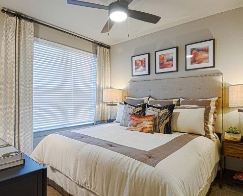 Kathy Andrews Interiors Multifamily Garden Style Interior Design SoCo at Tower Point Model Unit Bedroom 3