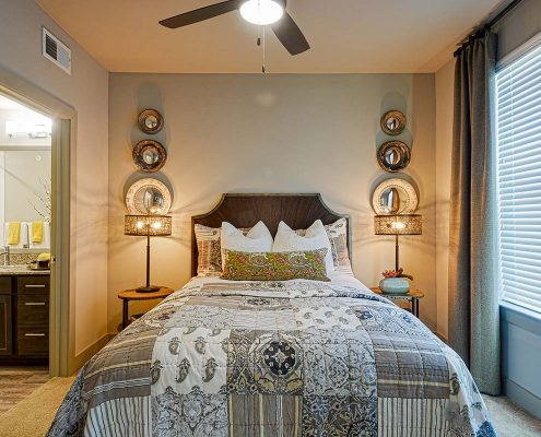 Kathy Andrews Interiors Multifamily Garden Style Interior Design SoCo at Tower Point Model Unit Bedroom