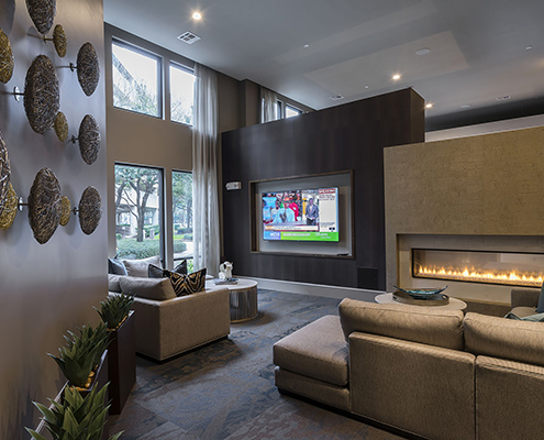 Kathy Andrews Interiors Multifamily Interior Design Alexan 5151 Leasing and Amenity Center Clubroom Cropped