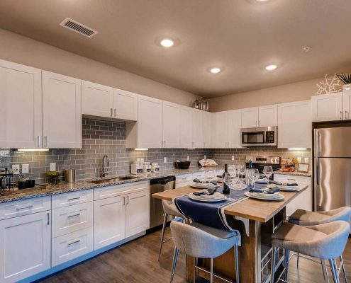 Kathy Andrews Interiors Multifamily Interior Design Model Units Ironwood at Red Rocks Kitchen