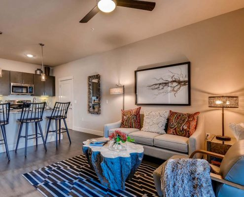 Kathy Andrews Interiors Multifamily Interior Design Model Units Ironwood at Red Rocks Living Room 2