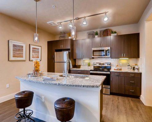Kathy Andrews Interiors Multifamily Interior Design Model Units Touchstone Kitchen