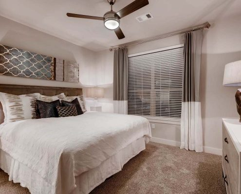 Kathy Andrews Interiors Multifamily Interior Design Model Units Venue at the Promenade Bedroom