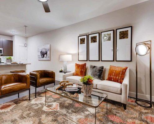 Kathy Andrews Interiors Multifamily Interior Design Model Units Venue at the Promenade Living Area