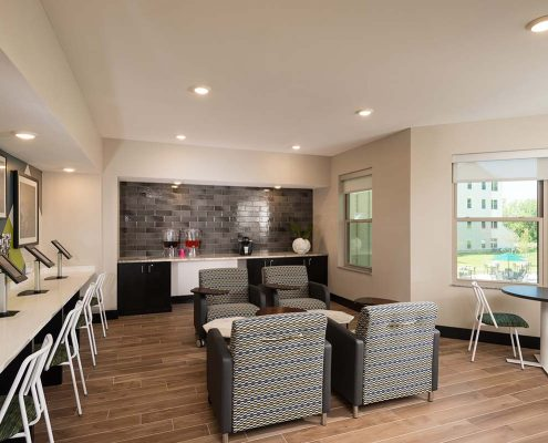 Kathy Andrews Interiors Student Housing Interior Design College Suites at Hudson Valley Coffee Lounge